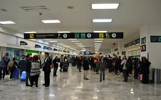 The arrival hall at the airport of Mexico city Benito Juarez