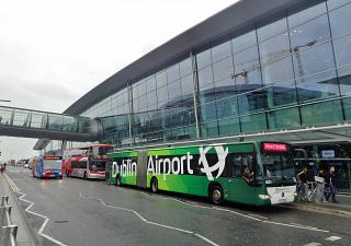 At the entrance to the terminal 2 of Dublin airport