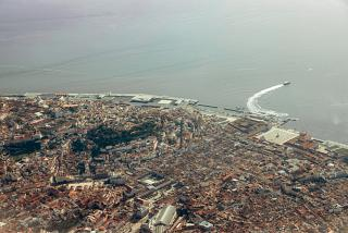 View of the center of Lisbon when taking off from Portela Airport