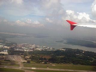Taking off from the airport in Singapore