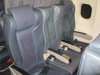 Seats in business class in the Airbus A319 of the airline TAP Portugal