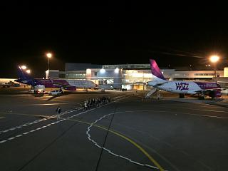 Wizz Air planes at the passenger terminal of Vilnius airport