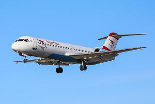 Fokker 100 of Austrian Airlines before landing at Salzburg airport