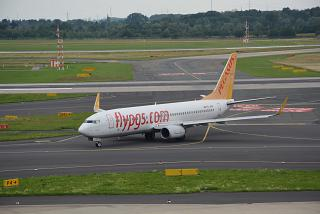 The plane Boeing 737-800 of Pegasus airlines at Dusseldorf airport