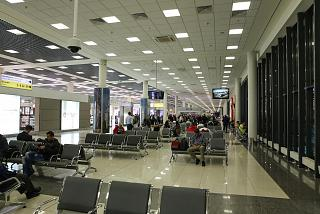 The waiting area in the clean zone of terminal E of Sheremetyevo airport