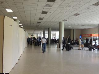 At the entrance to the registration hall at Colombo airport Bandaranaike international
