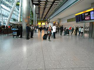 Arrival hall in terminal 5 of Heathrow airport