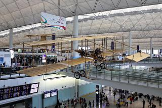 The aircraft Farman IV in terminal 1 Hong Kong international airport