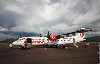 The plane ATR of 72 airlines Wings Air at the airport of Komodo