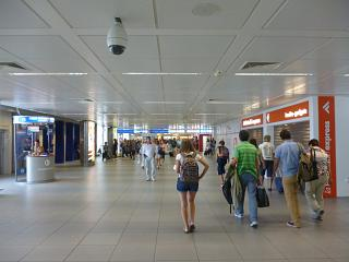 In the clean zone of terminal 3 of Rome airport Fiumicino