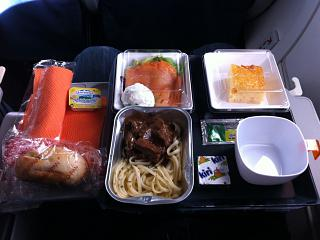 The catering meal on the Aeroflot flight Madrid-Moscow