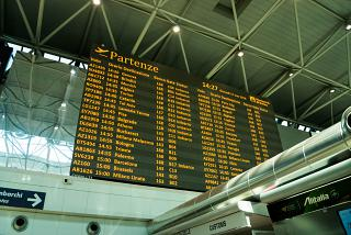 Information Board of departures in terminal 1 of the airport Rome Fiumicino
