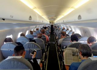 The passenger cabin of the Embraer 190 Finnair