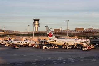 The aircraft of the airline Air Canada at terminal 1 of Toronto Pearson international airport