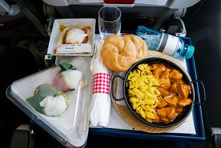 Meals from the menu DO&CO a la carte on the flight Moscow-Vienna of Austrian Airlines
