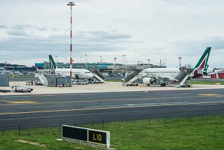 Aircraft Airbus A319 Alitalia at Rome airport Fiumicino
