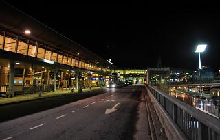 Night view of the airport's terminal T2 of Helsinki Vantaa