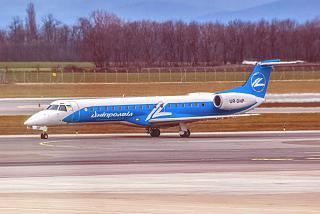 "The Embraer ERJ-145 UR-DNP airline ""Dniproavia"" at Vienna airport"