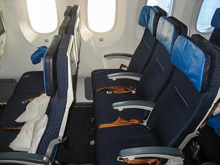 The passenger seats of economy class in the Boeing-787-9 KLM