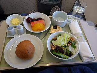 Cold snacks in business class Korean Air for the flight Vladivostok-Seoul
