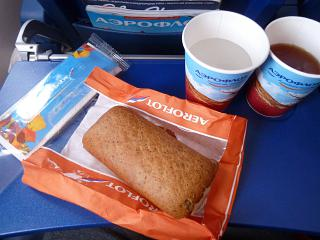 The catering meal on the Aeroflot flight Kaliningrad-Moscow