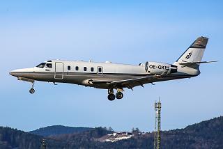 Gulfstream G100 OE-GFW is landing in Salzburg airport