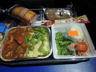 Dinner on the Aeroflot flight Brussels-Moscow