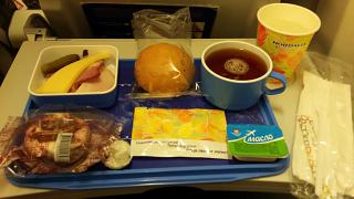 "Flight meals on the flight from Moscow to Arkhangelsk airlines ""Nordavia"""