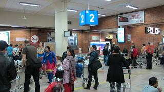 The baggage claim area at the airport Tribhuvan