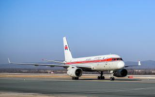 The airliner Tu-204-300 of Air Koryo at Vladivostok airport