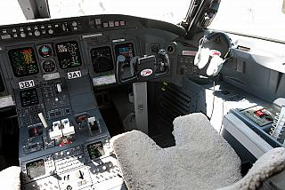 Cockpit of the Bombardier CRJ100 airlines Rusline