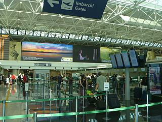 The check-in area in terminal T1 of the airport of Rome Fiumicino