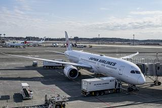 The aircraft Boeing-787-9 of Japan Airlines at the Tokyo airport Narita