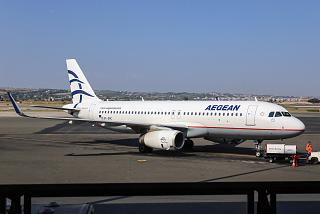 The Airbus A320 of Aegean airlines in Thessaloniki airport