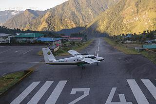 DHC-6-300 Twin Otter of Tara Air was taxiing for takeoff at the airport in Lukla