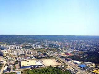 The outskirts of the city of Varna during takeoff from the airport