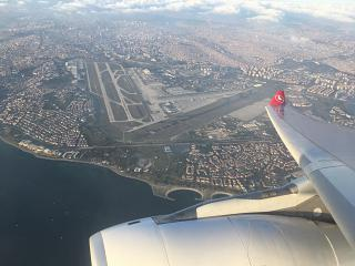 The view from the plane at the Ataturk airport in Istanbul