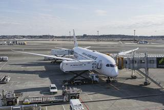 The aircraft Boeing-787-8 of Japan Airlines at the Tokyo airport Narita