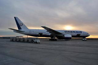 A Boeing-777-200 VP-BHB Orenburg airlines at the airport in Simferopol
