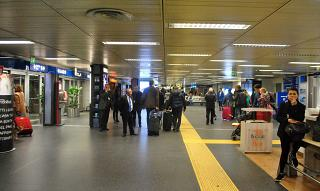 The arrivals area at the airport Milan Linate