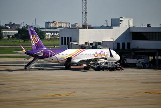 An Airbus A320 of Thai Smile in the airport don Muang