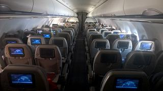 The economy class cabin in an Airbus A320 Gulf Air