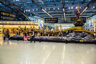 "The sculpture ""the Churning of the milky ocean"" at the airport Bangkok Suvarnabhumi"