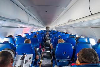 The passenger cabin of the Airbus A320 of Aeroflot