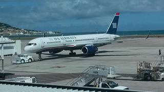 Boeing-757-200 airlines US Airways at the airport of Saint-Martin