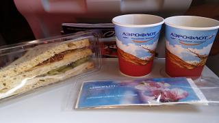 The catering meal on the Aeroflot flight Moscow-Ekaterinburg