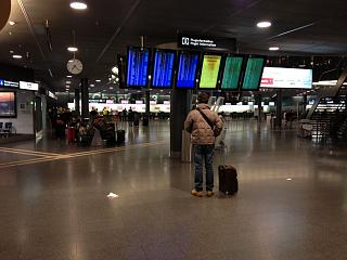 The departure lounge at Zurich airport