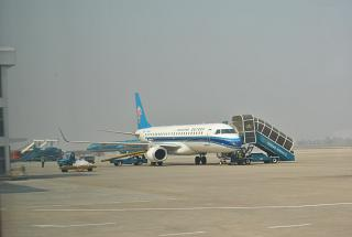 The Embraer 190 plane of China Southern Airlines at the airport of Hanoi Noi Bai