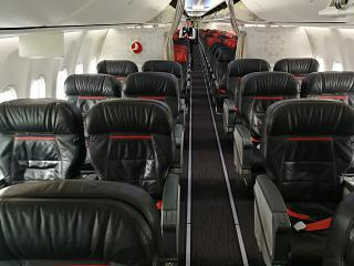 The passenger cabin of the Boeing 737-800 Turkish Airlines