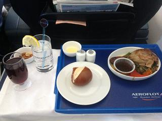 The food in business class of Aeroflot on the flight Sochi-Moscow